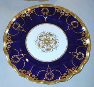 1971 Hand Gilded Royal Crown Derby Cobalt Cabinet Or Service Plate Ruffled Rim photo