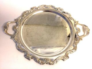 International Silver Co Silverplate Handled Footed Serving Tray Platter 22