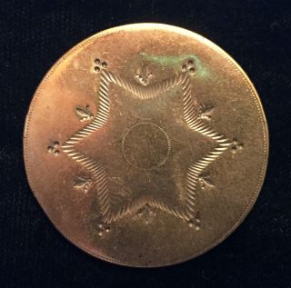 Awesome Antique 18th Century Copper Colonial Button With 6 - Pointed Star photo