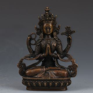 Vintage Bronze Hand - Carved Four Arm Buddhism Statue G500 photo