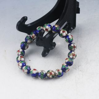 Chinese Exquisite Cloisonne Handwork Flowers Bracelet X0048 photo