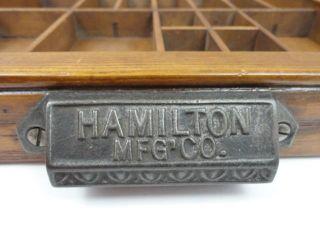 Antique Vtg Hamilton Mfg Co Wood Box Wall Cabinet Shelf Printing Drawer Case photo