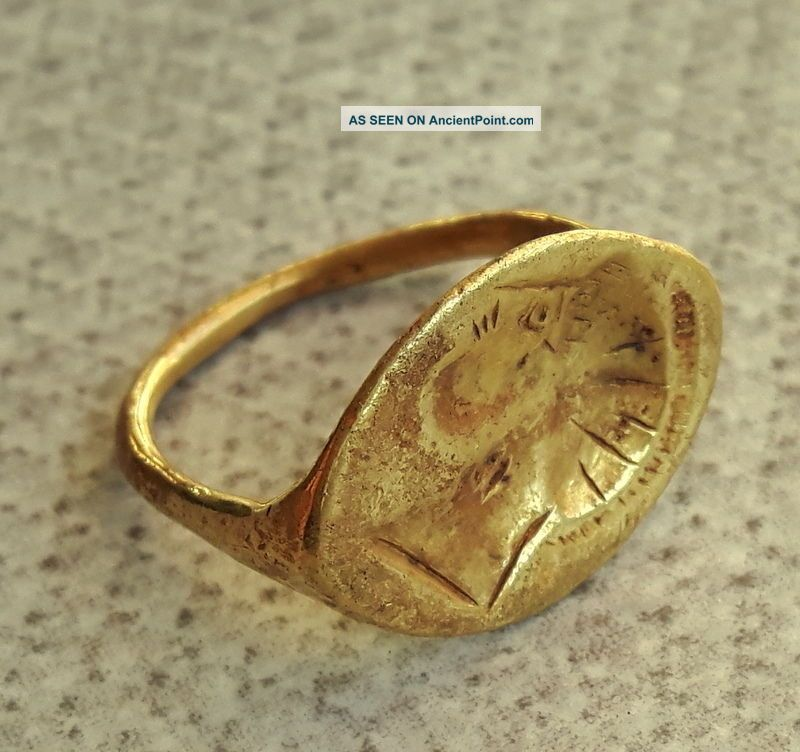 Ancient Greek Gold Ring 6th Century Bc Head Of The Spartan Warrior 18/19mm Greek photo