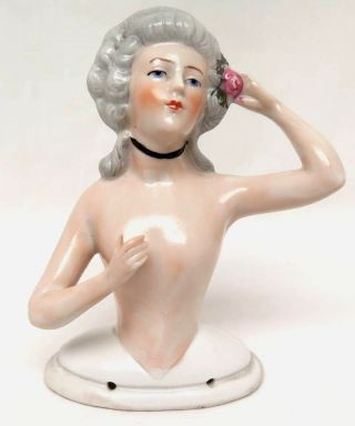Vintage Lady With Pink Rose In Her Hair Porcelain Pin Cushion Half Doll photo
