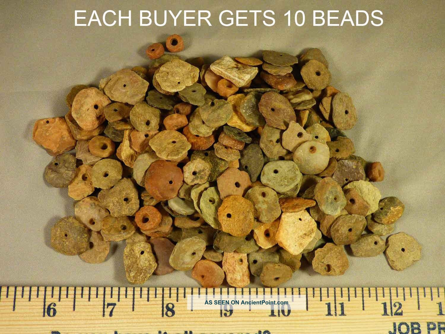 (10) Pre - 1600 Cherokee Indian Drilled Stone Trade Beads Found Judaculla Rock Nc Native American photo
