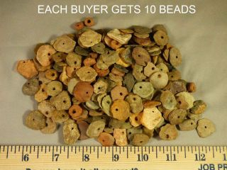 (10) Pre - 1600 Cherokee Indian Drilled Stone Trade Beads Found Judaculla Rock Nc photo