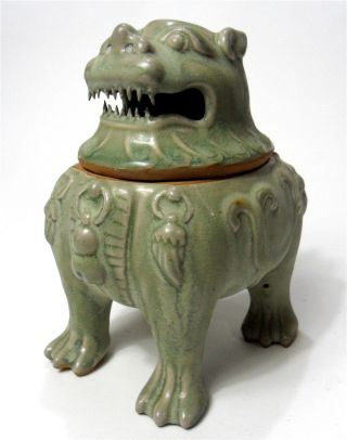 Chinese Qing - Glazed Porcelain Censer Of Lion Statue photo