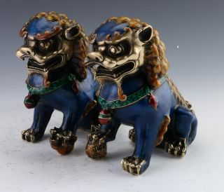 A Pair Chinese Cloisonne Copper Statue - Lion photo