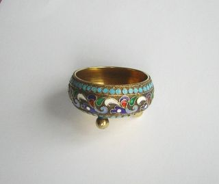 Antique Russian Silver - Gilt And Enamel Salt - 84 - И Г (ivan Gubkin ?) - 25 Gm. photo