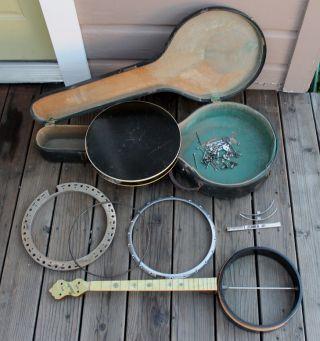 Antique Vintage 1920s Concertone Tenor Banjo And Case Mother Of Pearl Neck photo