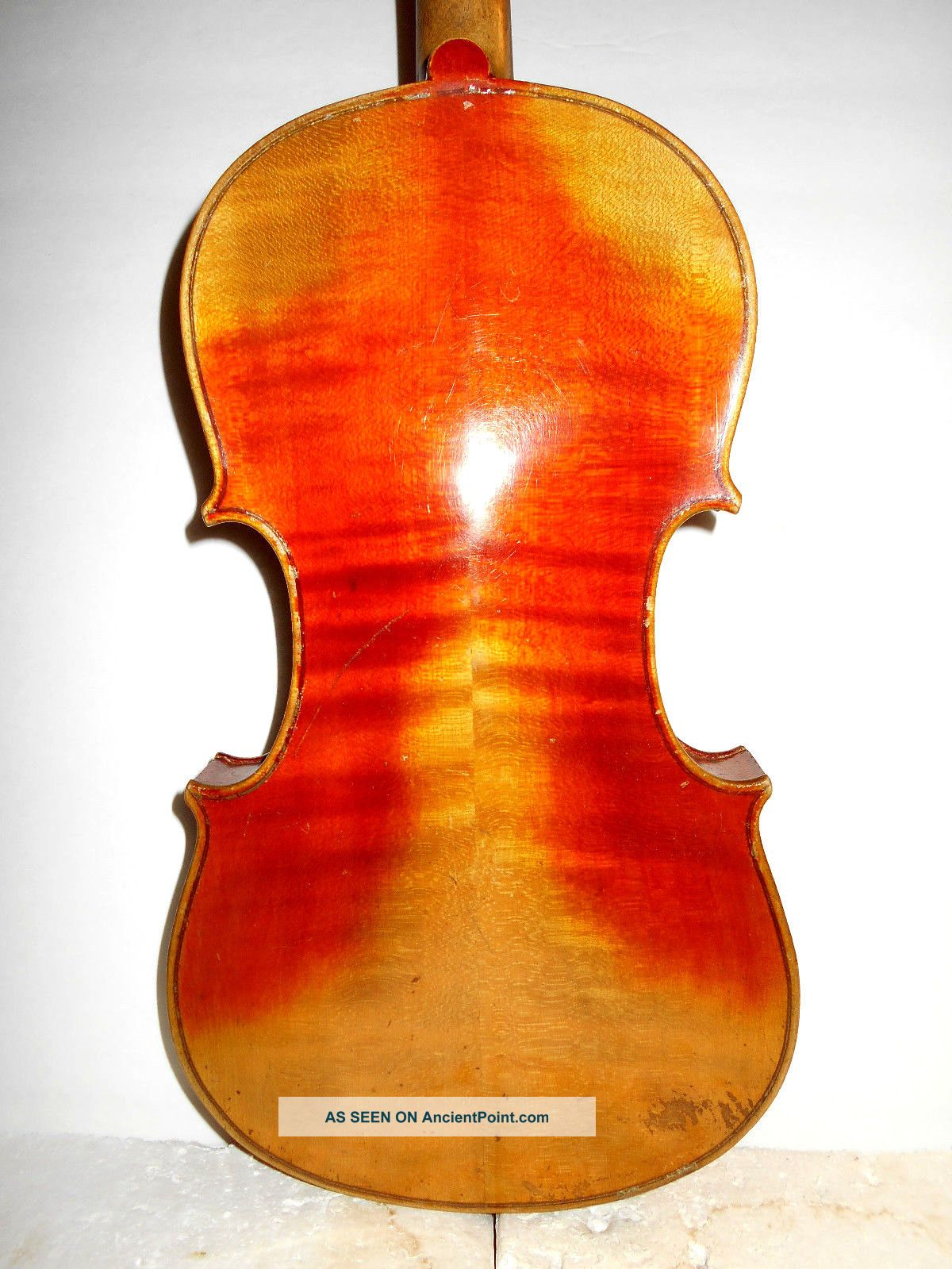 Old Vintage Antique 2 Pc Curly Maple Back Full Size Violin - String photo