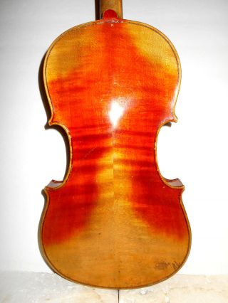 Old Vintage Antique 2 Pc Curly Maple Back Full Size Violin - photo