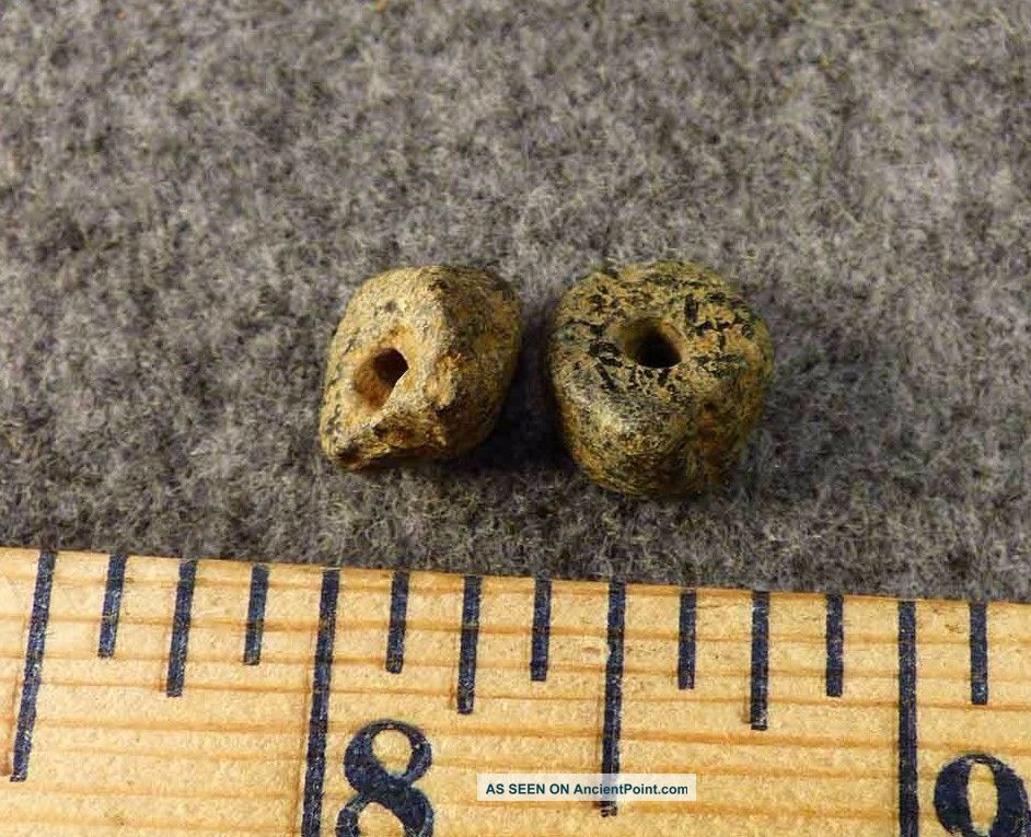 (2) Pre - 1600 Cherokee Indian Drilled Stone Trade Beads Found Judaculla Rock Nc Native American photo