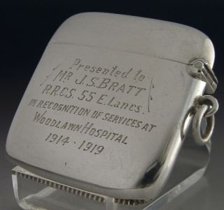 Rare Wwi Solid Sterling Silver Vesta Case 1918 Antique Woodlawn Lancs Regiment photo