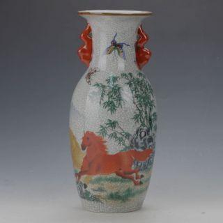 Famille Rose Porcelain Hand - Painted Butterfly & Horse Vase W Qianlong Mark C164 photo