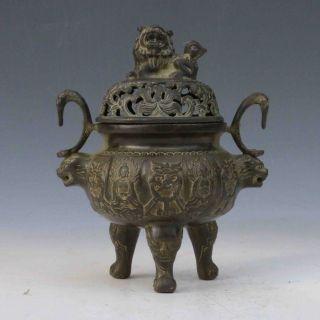 Chinese Antique Bronze Handwork Carved Lion Incense Burner&lid M0018 photo
