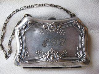 Antique Victorian Art Nouveau Shell Floral German Silver Purse Mono Edg 14 photo