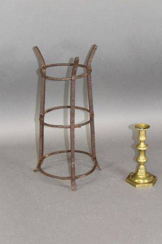 Rare American 18th C Wrought Iron Lighting A Standing 3 Tier Cresset Holder photo