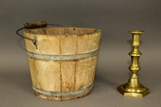 Rare 19th C Round Shaker Type Staved Bucket In Yellow Grained Paint 2/2 photo