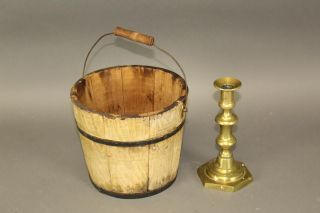 Rare 19th C Round Shaker Type Staved Bucket In Yellow Grained Paint 1/2 photo
