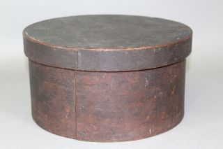 A Great 19th C Round Pantry Box In The Best Grungy Ox - Blood Red Paint photo