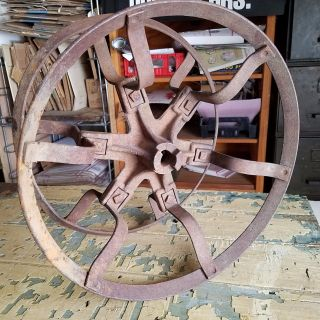 Antique Cast Iron Wire Reel Spool Rope / Barbed Wire Industrial Primitive Decor photo