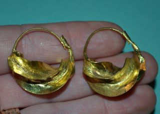 African Fulani Tribal Handmade Lightweight Gold Washed Brass Earrings,  Africa photo