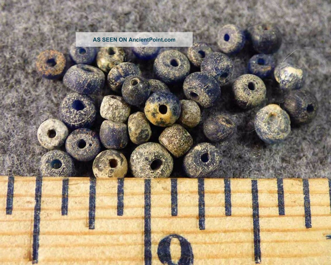 (10) Tellico Plains Trade Beads Cherokee Blue Venetian Glass 1700 ' S Native American photo