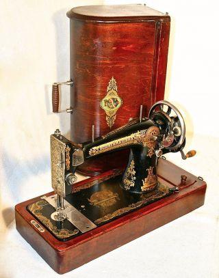 Very Rare 1924 Unusual Singer 127 Model Gossvejmashina Antique Sewing Machine photo