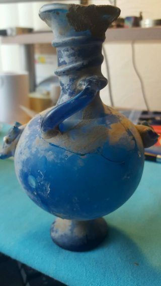Large Roman Glass Vase,  2nd - 3rd Century A.  D.  Blue Iridescent photo