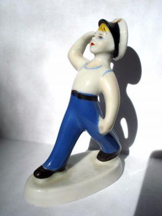 Vintage Soviet Porcelain Young Boy Sailor 1960s photo