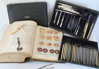 Antique Late 1800s Eye Doctor Ophthalmoligist Surgery Kit Tools Weiss Medical photo
