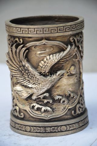 Delicate Chinese Silver Copper Handwork Carved Eagle Brush Pot photo
