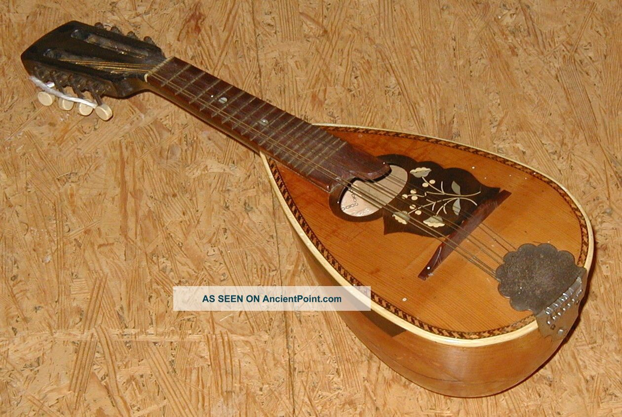 Rare Antique Small German Pocket Mandolin,  Total 48cm,  Collector String photo