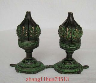 A Pair Antique Handmade Statue Copper Bronze Candlestick Lotus photo