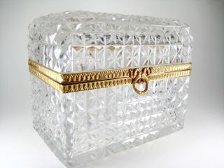 Large Antique French Baccarat Hand Cut Crystal Box Casket Hinged Lid Ormolu photo