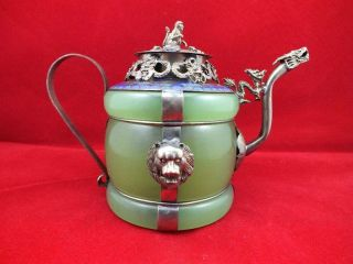 Chinese Old Tibetan Silver Dragon Lion Green Jade Cloisonne Teapot Monkey Lid photo