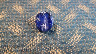 Striking Nbs Small Intermixed Cobalt Blue & White Imitation Slag Glass 1/2