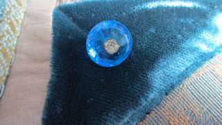 Stunning Rhinestone Center Ome Pinshank In Blue Glass With Faceted Border 7/16