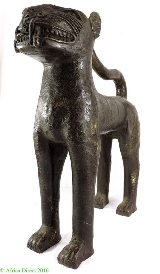 Benin Leopard Bronze Nigeria African Art Was $450 photo