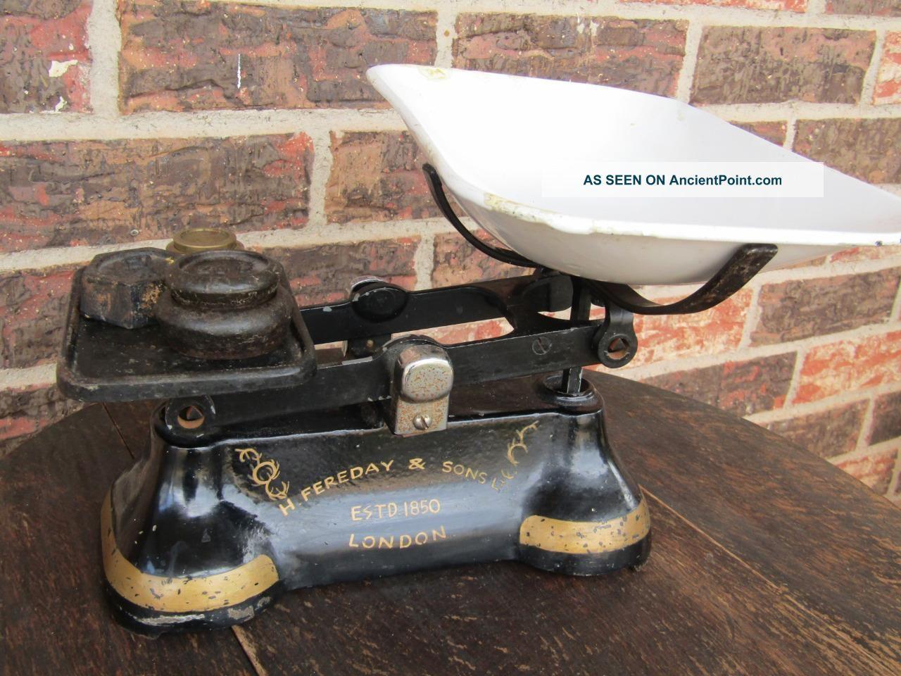Fereday & Sons Antique Vintage English Cast Iron Kitchen Scale London Estd.  1850 Scales photo