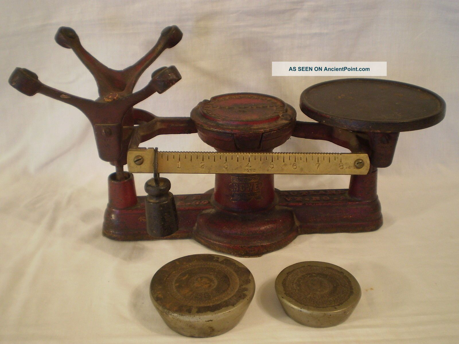 Antique 1867 Howe No.  2 General/country/candy Store Cast Iron Scale W/ Weights Scales photo