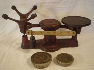 Antique 1867 Howe No.  2 General/country/candy Store Cast Iron Scale W/ Weights photo