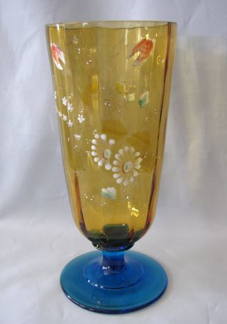 Hand Painted Enameled Amber Blue Paneled Vintage Glass Pedestal Vase photo