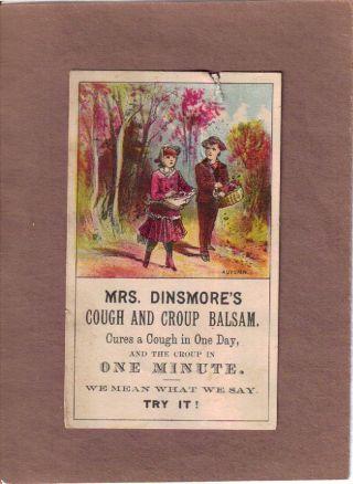 Mrs Dinsmore ' S Cough And Croup Balsam Quack Medicine Adv Trade Card C1870s photo