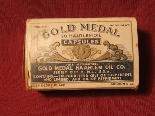 Vintage Haarlem Oil Capsules Medicine Box & Contents photo