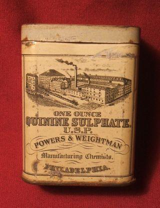 Vintage Quinine Sulphate Medicine Tin photo