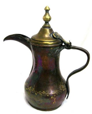 Large Antique Ottoman Empire Turkish Bronze Coffee Pot W/patina photo