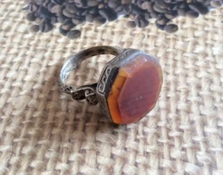 Men ' S Engraved Rings Near Eastern Vintage Agate Afghan Antique Islam Tribal 9.  5 photo