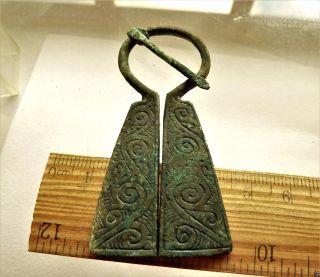 Authentic Ancient Medieval Artifact - Bronze Fibula (k524) photo